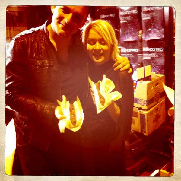 Victoria and Rab eating veggie dogs post show.